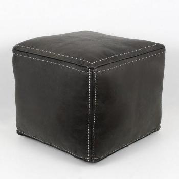 Pouf carré noir en cuir surpiqué
