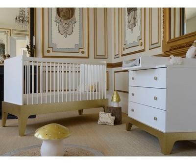 Pinolino chambre bb fleur blanc lit volutif commode for Chambre bb paris