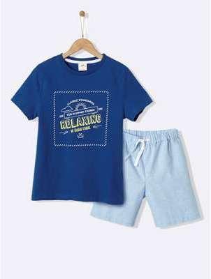 Pyjashort garçon bleu électrique