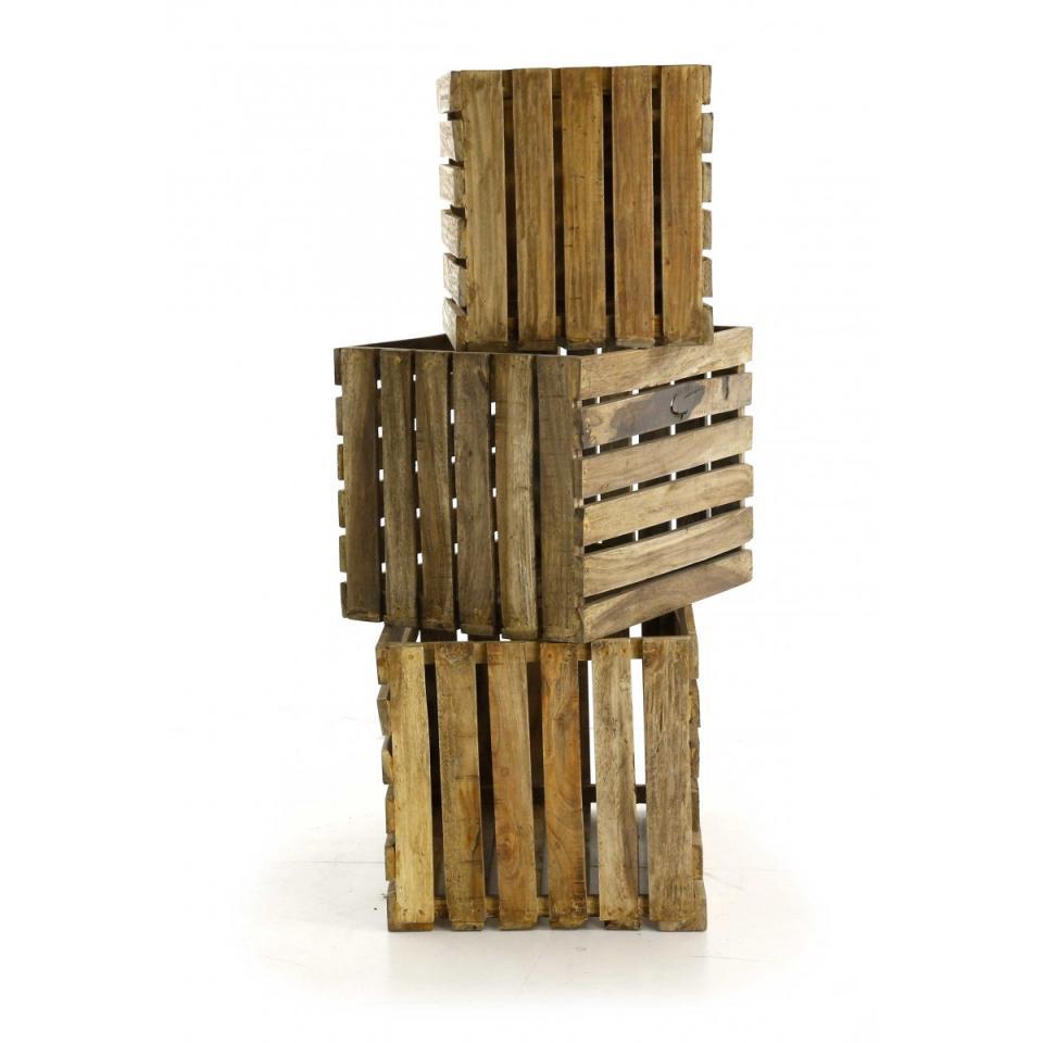 Inwood buffet acacia massif 2 portes 3 tiroirs vermont - Caisse de rangement en bois ...