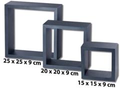 3 étagères murales cubes -