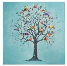 Toile fond bleu arbre à oiseaux