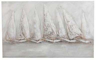 Tableau 7 voiliers gris blanc