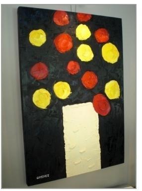 Tableau Bouquet rouge et jaune