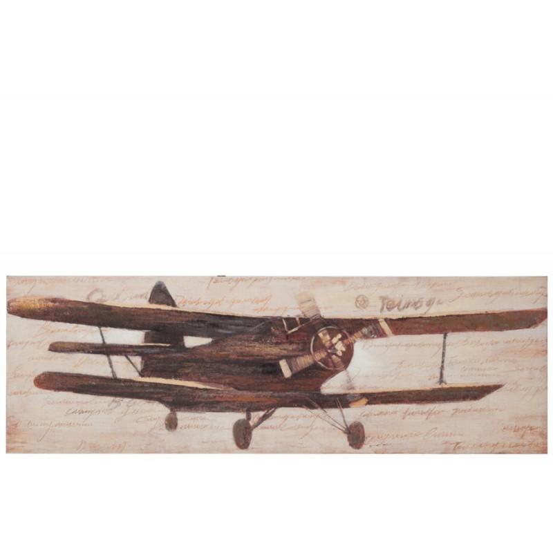 Tableau avion biplan marron