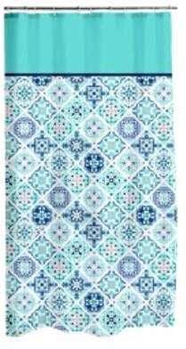 Rideau de douche Tilès Bleu