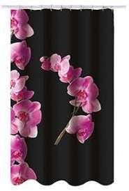 Rideau de douche Noir Orchidées