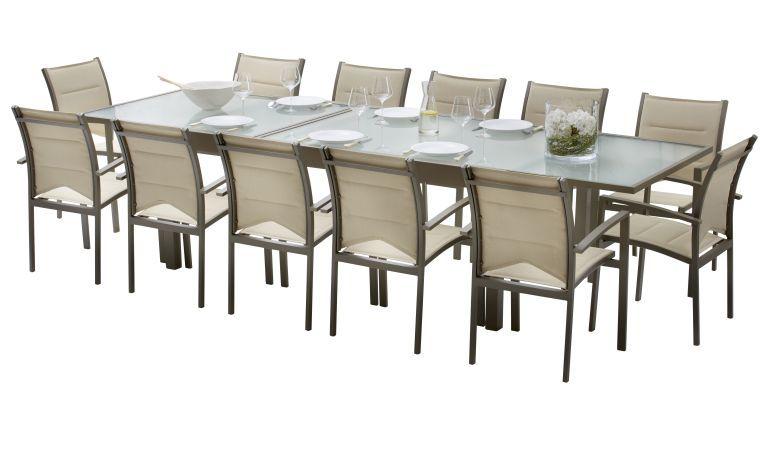 Alpina Ensemble Modulo 8 noir/papaye table + 4 fauteuils