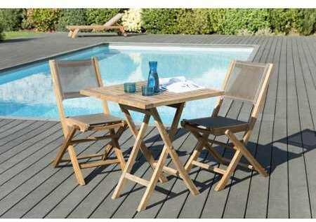 Teck Table Pliante Octogonale en 120x120 cm