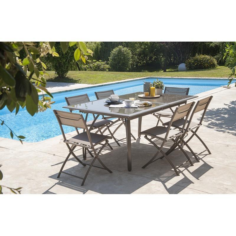 dcb le reve chez vous salon de jardin table 6 chaises alumini. Black Bedroom Furniture Sets. Home Design Ideas