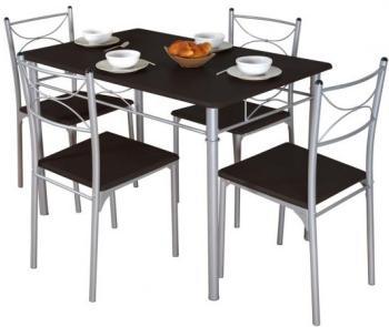 Table 4 chaises Décor Wengué