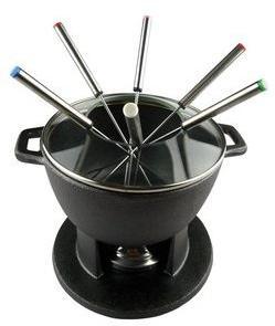 Service à fondue en fonte