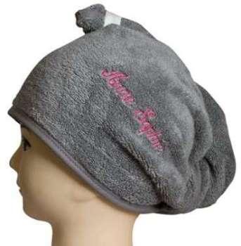 Turban de bain rose gris éponge
