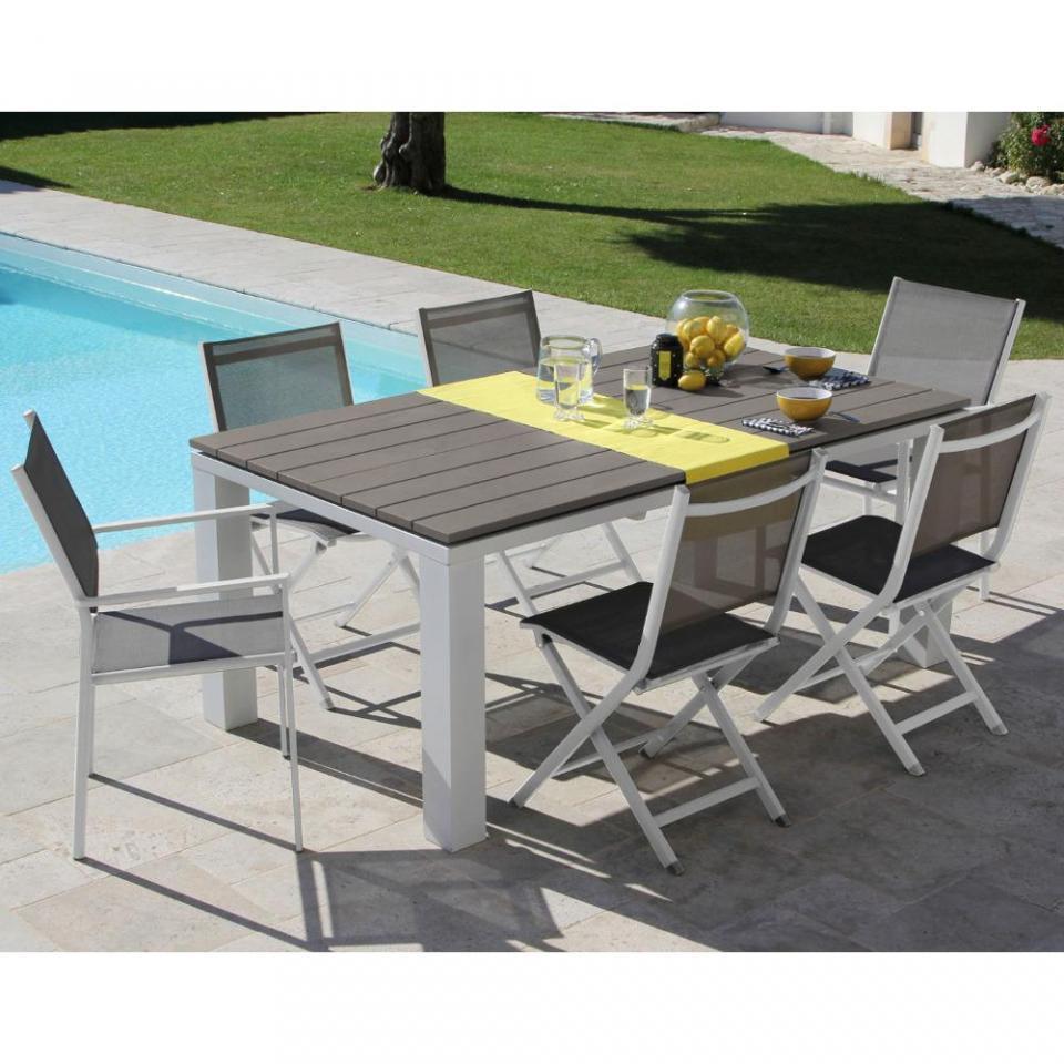 proloisirs table de jardin carre 160 x 160 cm en aluminium