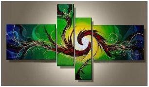 Tableau peinture vert spirale