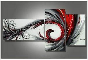Tableau Triptyque gris rouge