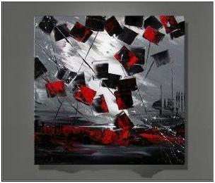 Tableau Abstrait carré Rouge