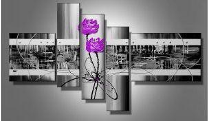 Tableau fleurs design violet