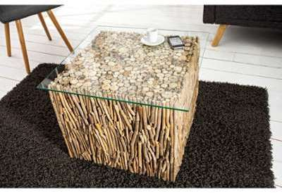 Table basse design fossile