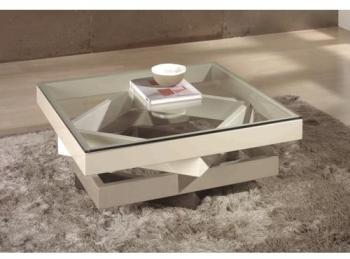 Table basse crème taupe carrée