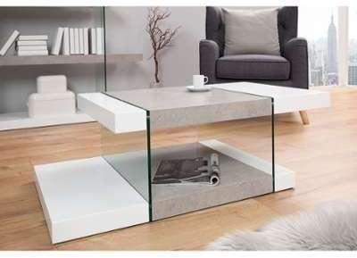 Table basse design blanc mat