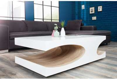 Table basse design blanc laqué