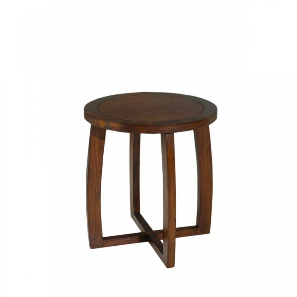 Table basse ronde mindi 90cm 2 tabourets 4 niches for Petite table basse ronde