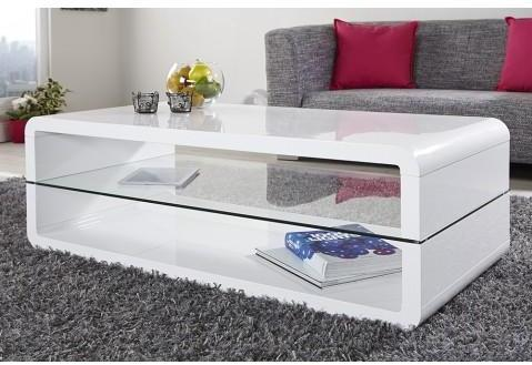 Table basse design blanc laqué