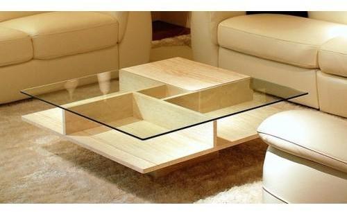 Table basse pierre et verre