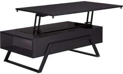Table basse noire avec tablette