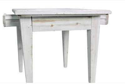 TABLE BOIS 2 TIROIRS CERUSE