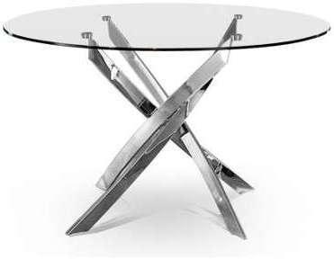 Table repas ronde chromé Cassidy