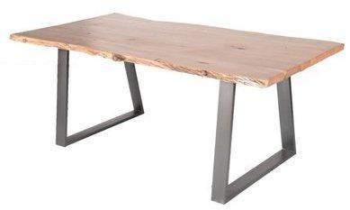 Table pied métal et bois massif