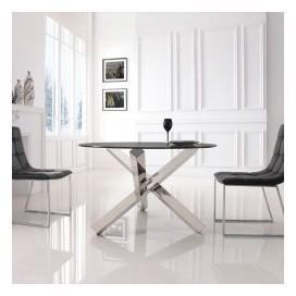 Table à manger ronde en verre