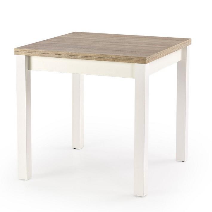 Table carrée bois et blanc