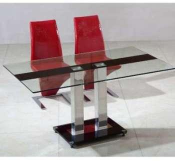 Table en verre pied central