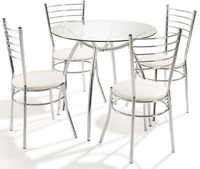 Table ronde 4 chaises Blanc