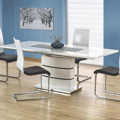 Table extensible blanc laqué