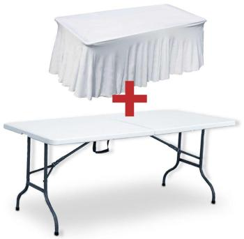 Table pliante 180 cm et nappe
