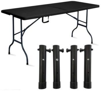 Table pliante noire avec 4