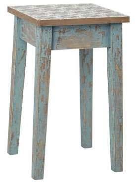 Tabouret en bois patiné bleu