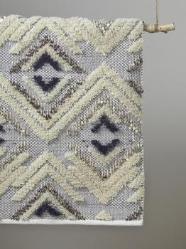 Tapis ethnique sequins ivoire