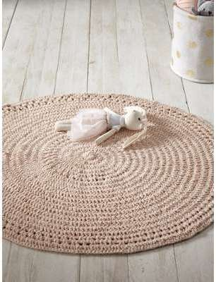 Tapis crochet rond nude rose