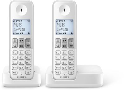 tlphone sans fil philips d2302w fr duo blanc. Black Bedroom Furniture Sets. Home Design Ideas