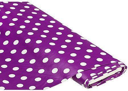 Tissu toile cirée pois violet