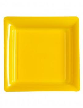 12 Assiettes carrées en plastique