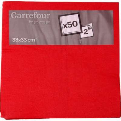 Serviettes papier rouge 33x33
