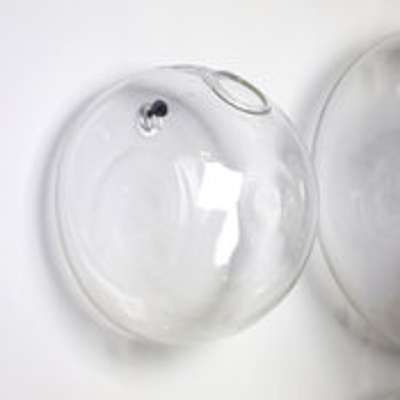 Vase verre demi boule suspendu