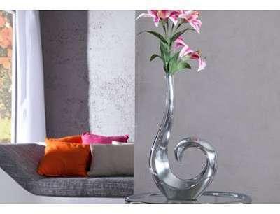 Vase design en aluminium argent