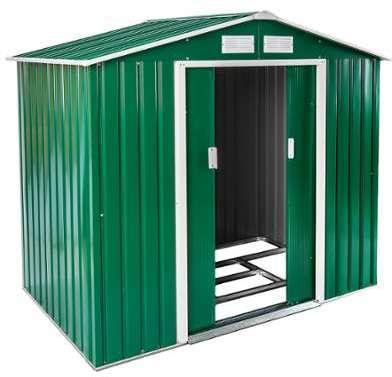 Abri mtal 183x123 cm vert toit 1 pente for Cabane rangement jardin